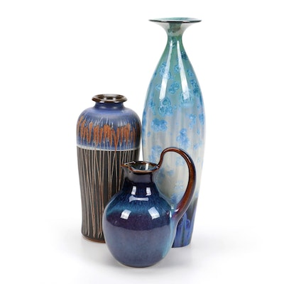 Bill Campbell Hand-Thrown Ceramic Vases and Pitcher