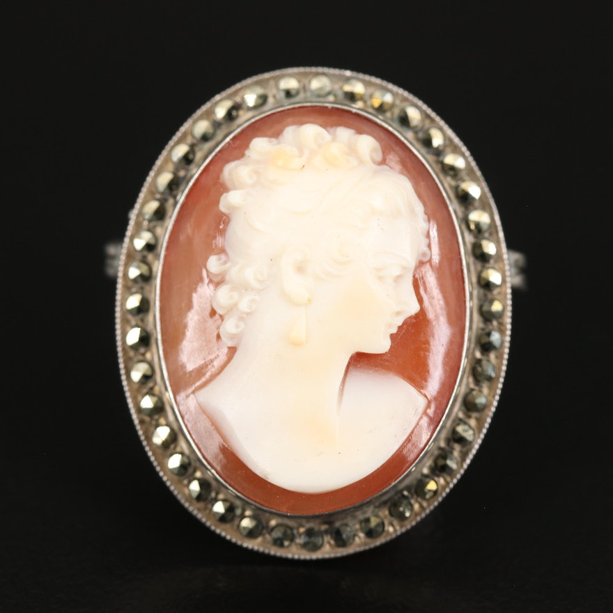 1930s Sterling Shell Cameo and Marcasite Converter Brooch