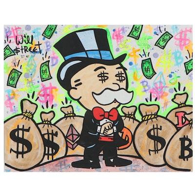 """Will $treet Mixed Media Painting """"Bobble Head Monopoly,"""" 2021"""