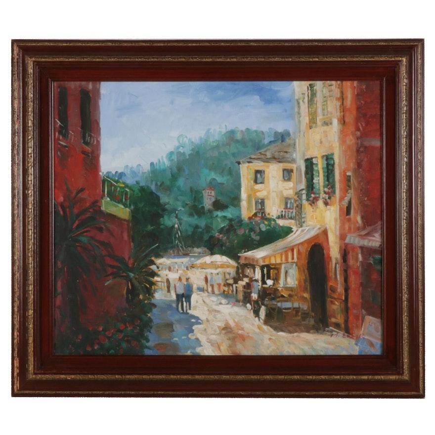 Impressionist Style Oil Painting of Street Scene, Circa 2000