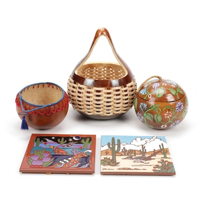 Handcrafted Art Tile Trivets and Decorative Gourds