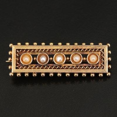 Victorian 14K Seed Pearl Bar Pin