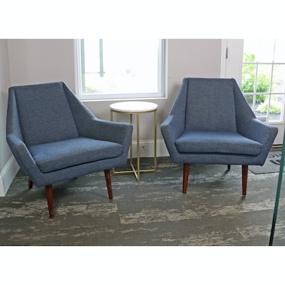 Mid Century Modern Style Article Armchairs and Faux Marble Accent Table