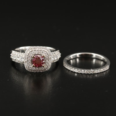 18K 1.65 CTW Diamond Double Halo Ring with Band