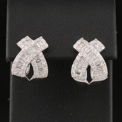 Sterling Silver 1.25 CTW Diamond Crossover Earrings