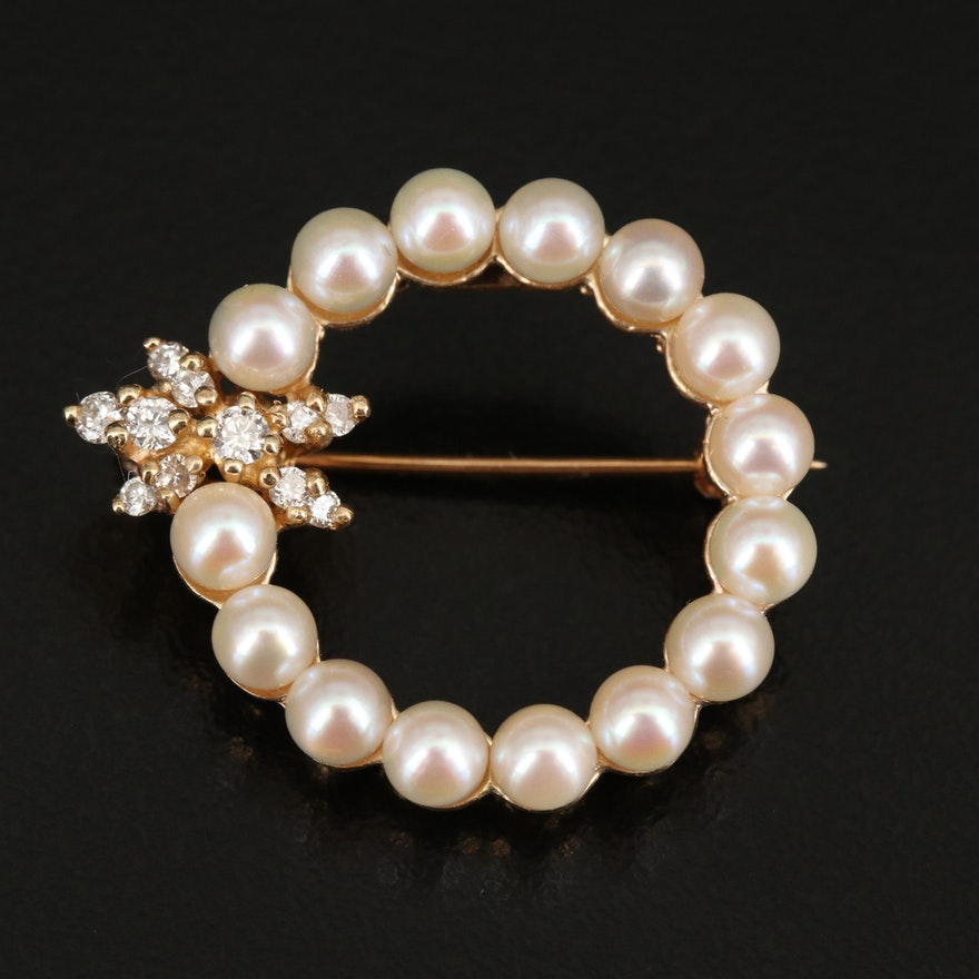 14K Pearl and Diamond Circle Brooch