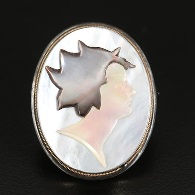 800 Silver Mother of Pearl Cameo Converter Brooch