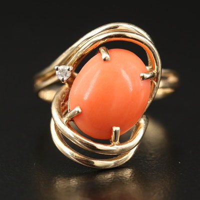 1970s 14K Coral and Diamond Ring