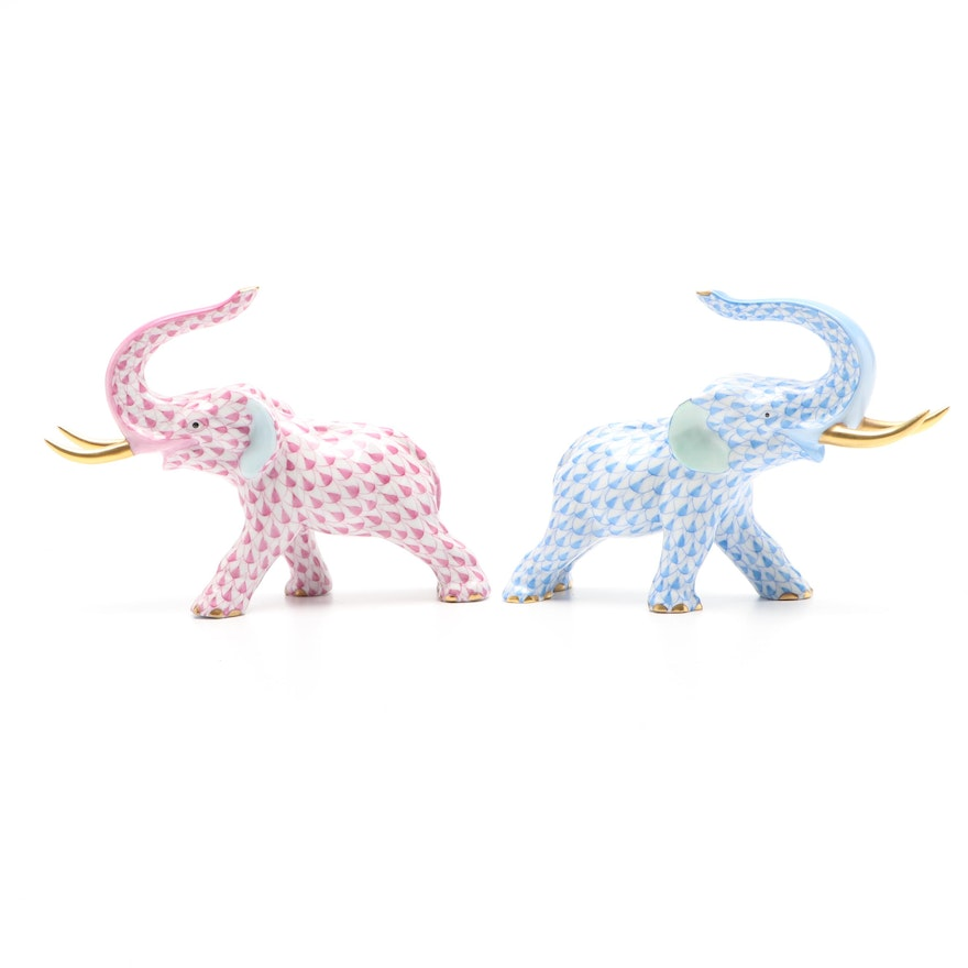"""Herend Raspberry and Blue Fishnet """"Elephant with Tusks"""" Porcelain Figurines"""