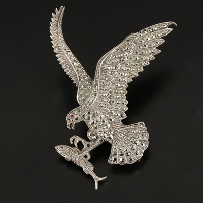 Sterling Glass and Marcasite Raptor with Fish Converter Brooch