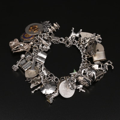 Vintage Sterling Charm Bracelet Featuring Bell Trading Company and Danecrafft