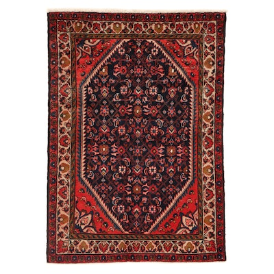 3'5 x 4'11 Hand-Knotted Persian Malayer Rug, 1920s