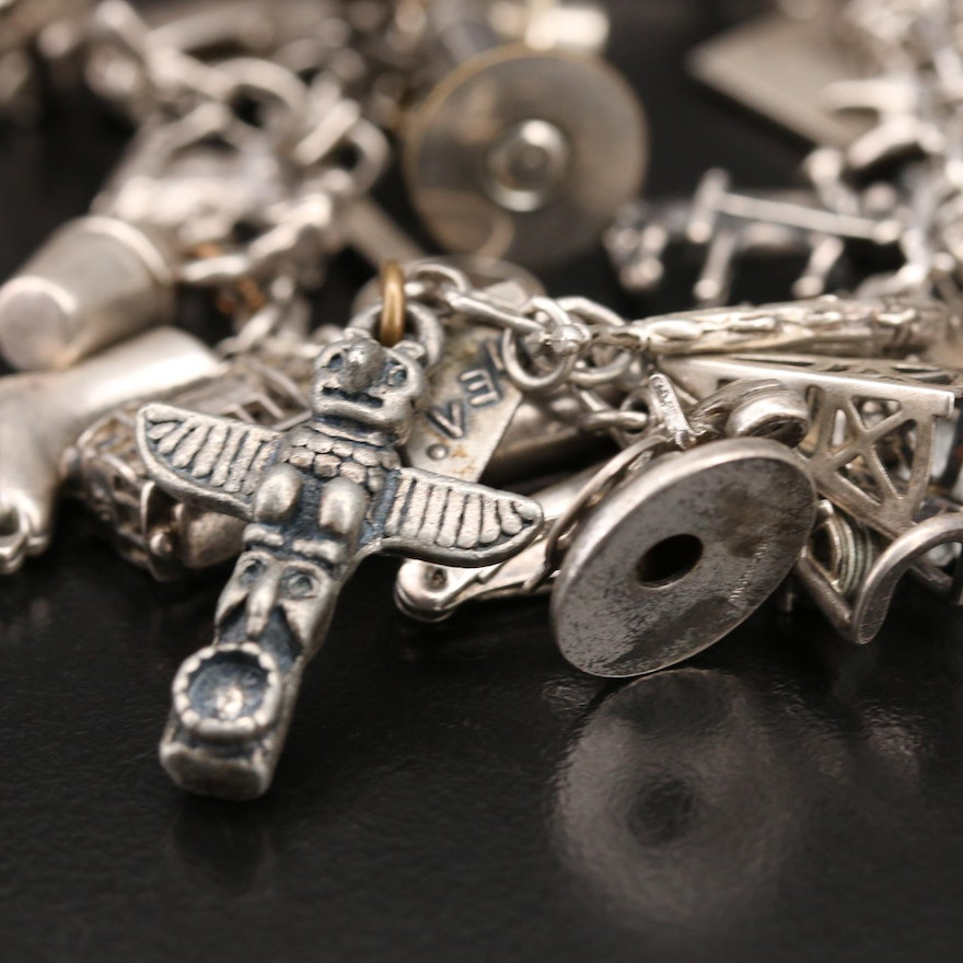 Vintage Charm Bracelet Featuring Danecraft and Articulated Charms