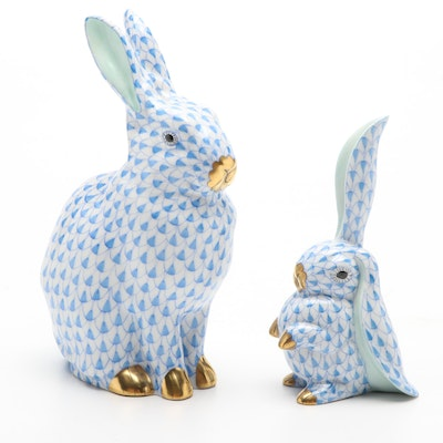 """Herend Blue Fishnet """"Rabbit"""" and """"Rabbit with One Ear Up"""" Porcelain Figurines"""