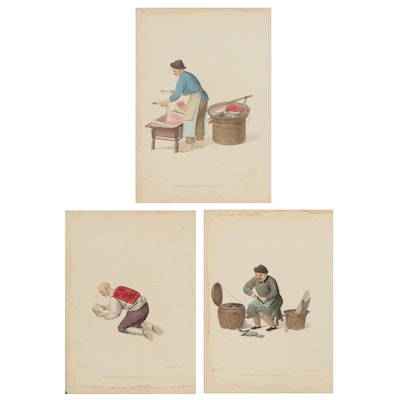 """Hand-Colored Stipple Engravings from """"The Costume of China,"""" 1799"""