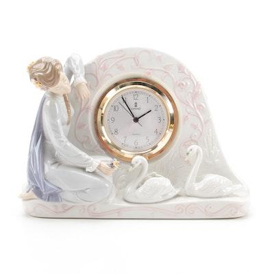 """Lladró """"Swan Clock"""" Porcelain Shelf Clock"""