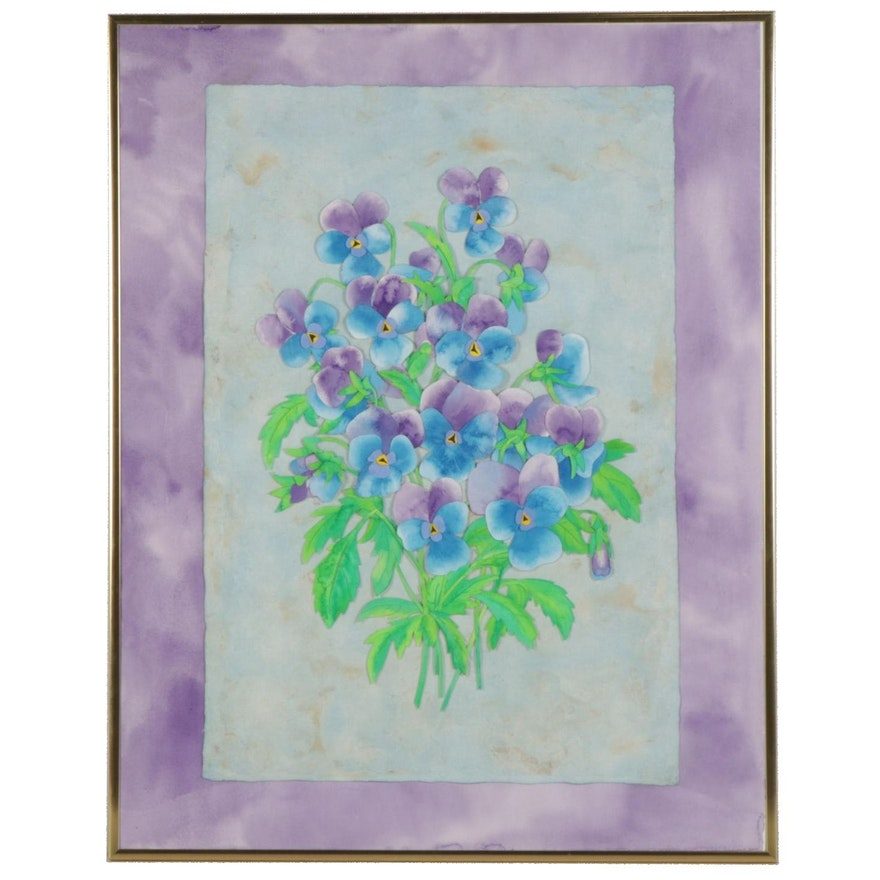 Bouquet of Violets Watercolor Painting, Circa 2000
