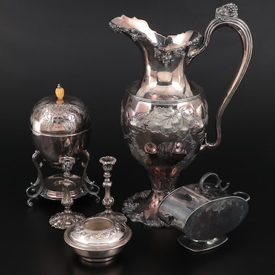 Barbour Pitcher with Other Silver Plate Egg Coddler, and Other Tableware