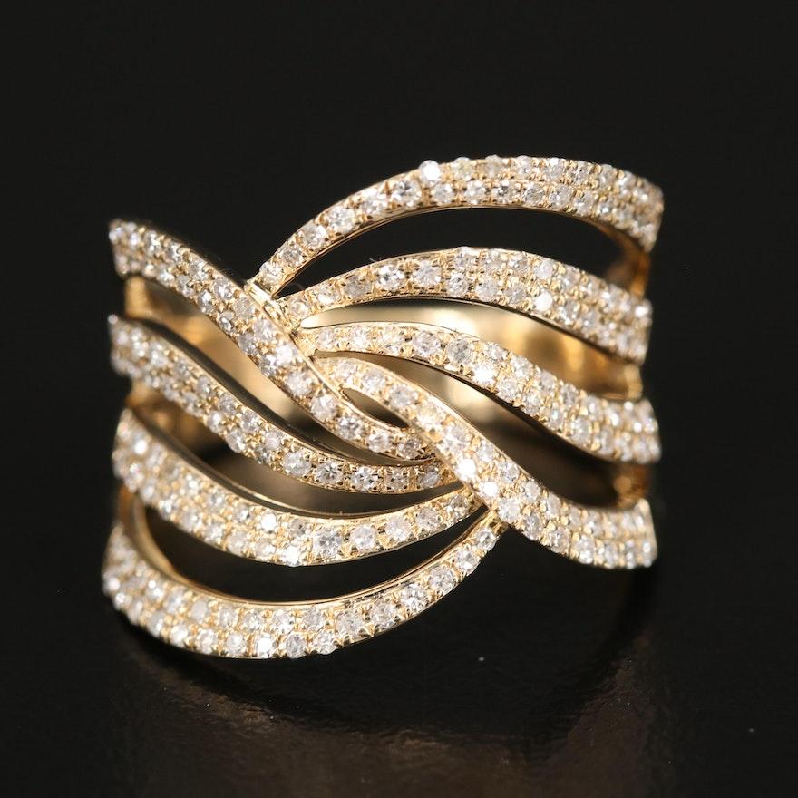 EFFY 14K Diamond Crossover Ring