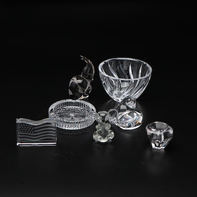 Baccarat Crystal and Other Glass Figurines with Cut Glass Bowl and Ashtray