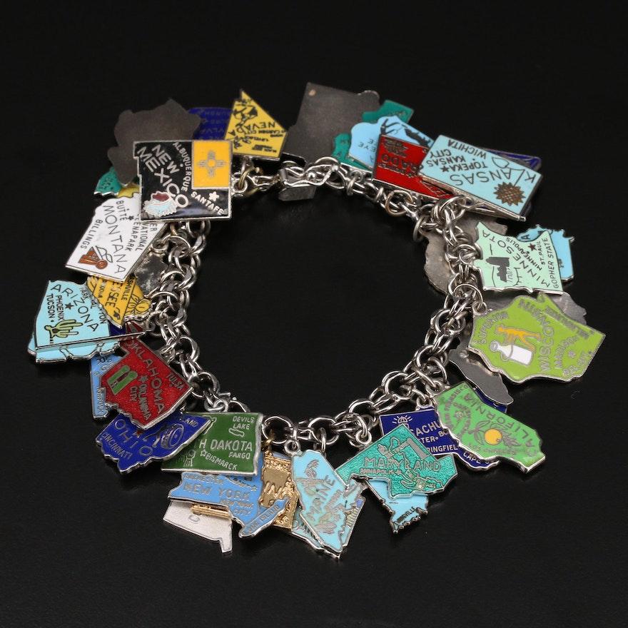 Sterling Enamel Travel Charm Bracelet