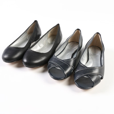 Lands' End Emma Classic Ballet Flats in Black and Open Toe Ballet Flats in Navy