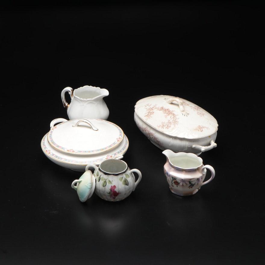 Floral Motif Painted Ceramic Serveware