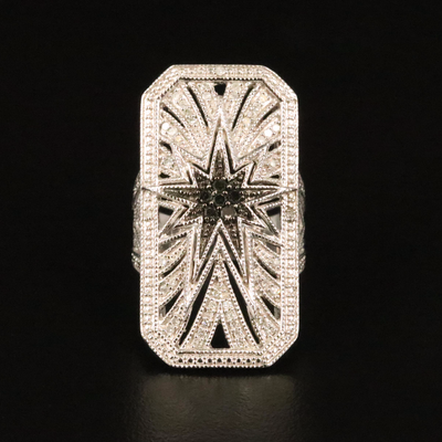 Sterling Diamond Star Burst Ring