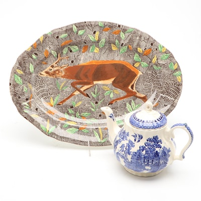 French Gien Faïence Rambouillet Platter with Sadler Blue Willow Ceramic Teapot