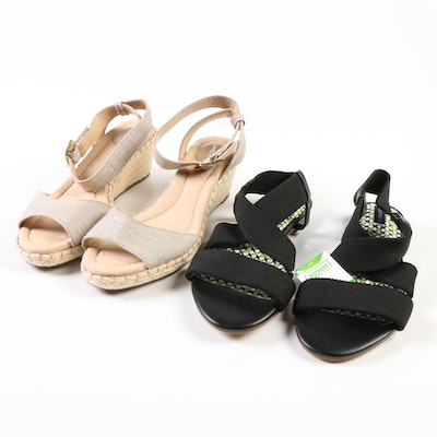 Land's End Black Sandals and Canvas Wedges