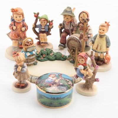 "Goebel ""Marktplatz"" and Other Porcelain Hummel Figurines and Music Box"