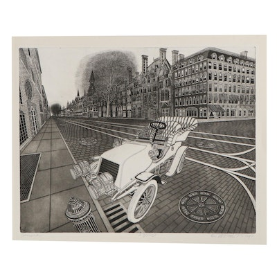 """Bruce McCombs Etching with Aquatint """"Avenue,"""" 1975"""