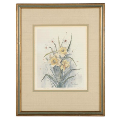 """Mary Bertrand Offset Lithograph """"Daffodils,"""" Late 20th Century"""