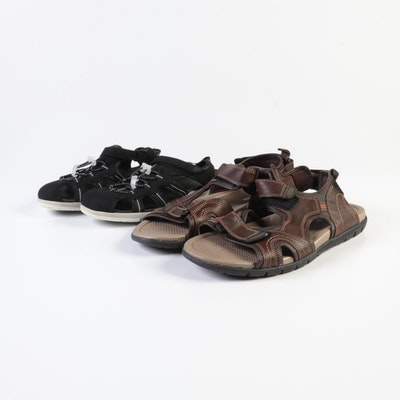 Lands' End Open Toe Sandals in Coffee Bean and Water Sandals in Black