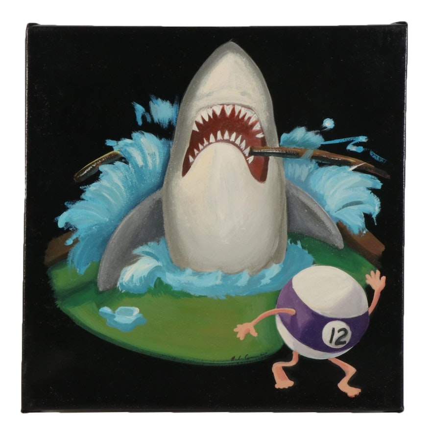 Nicolette Capuano Shark Attack Acrylic Painting, 2010
