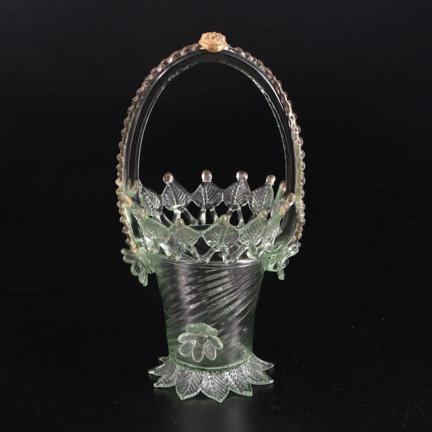 Murano Style Blown Green Glass Bride's Basket