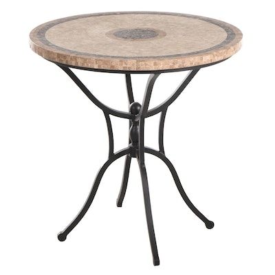 Contemporary Mosaic Tile-Top and Scrolled Metal Base Table