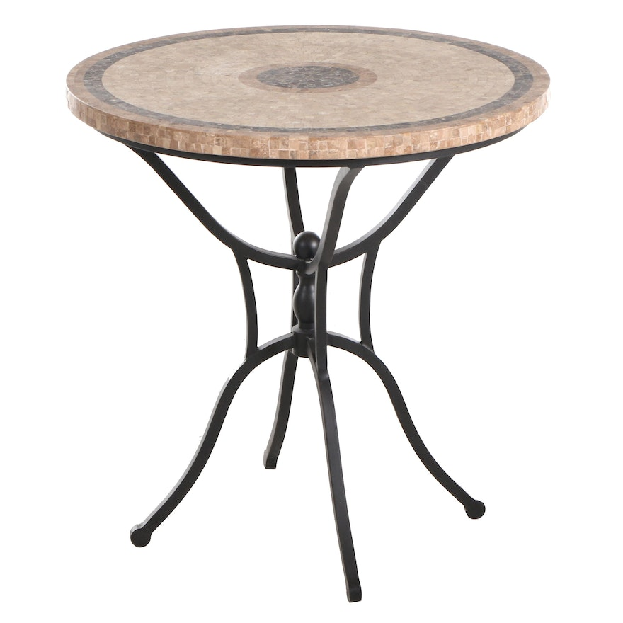 Arhaus occasional Table with Mosaic Tile-Top and Scrolled Metal Base Table