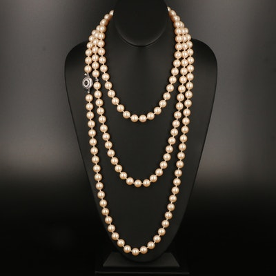 Givenchy Faux Pearl and Rhinestone Necklace