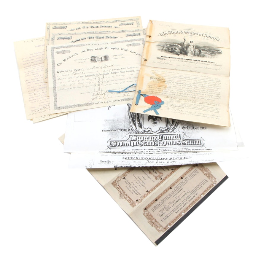Hand Loom Patent Grant, Land Grants, and More, Mid/Late 19th to Early/Mid 20th C