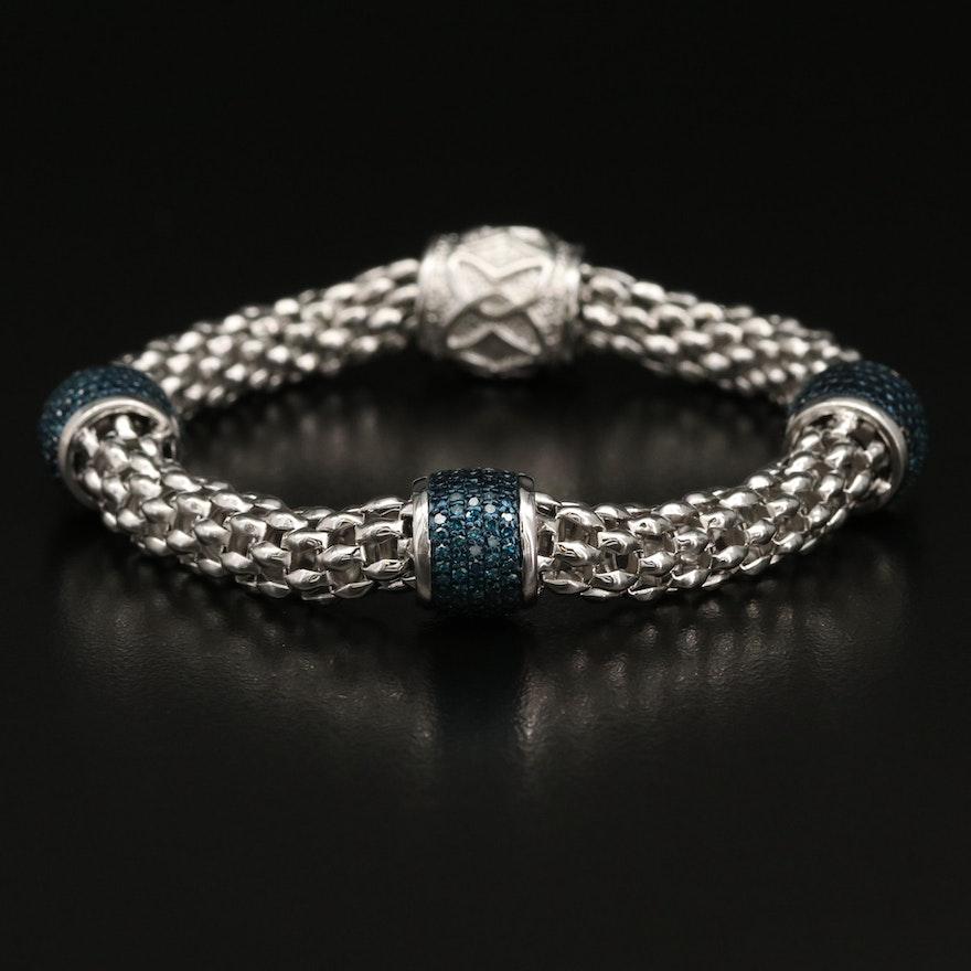 Sterling Silver Pavé Diamond Bead Station Bracelet