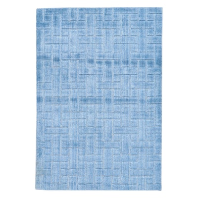 4' x 6' Hand-Knotted Indian Modern Style Silk and Wool Rug, 2010s
