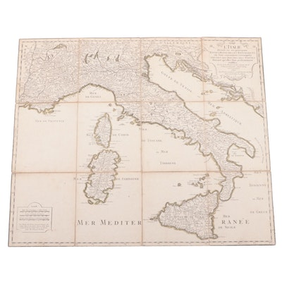 French Language Map of the Mediterranean, 18th Century