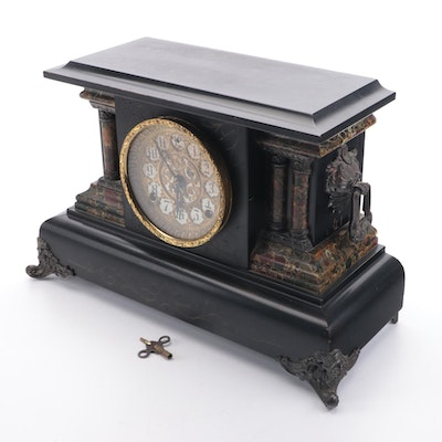 """E.W. Welch """"Sorma"""" 8 Day Half-Hour Strike Cathedral Gong Mantel Clock"""