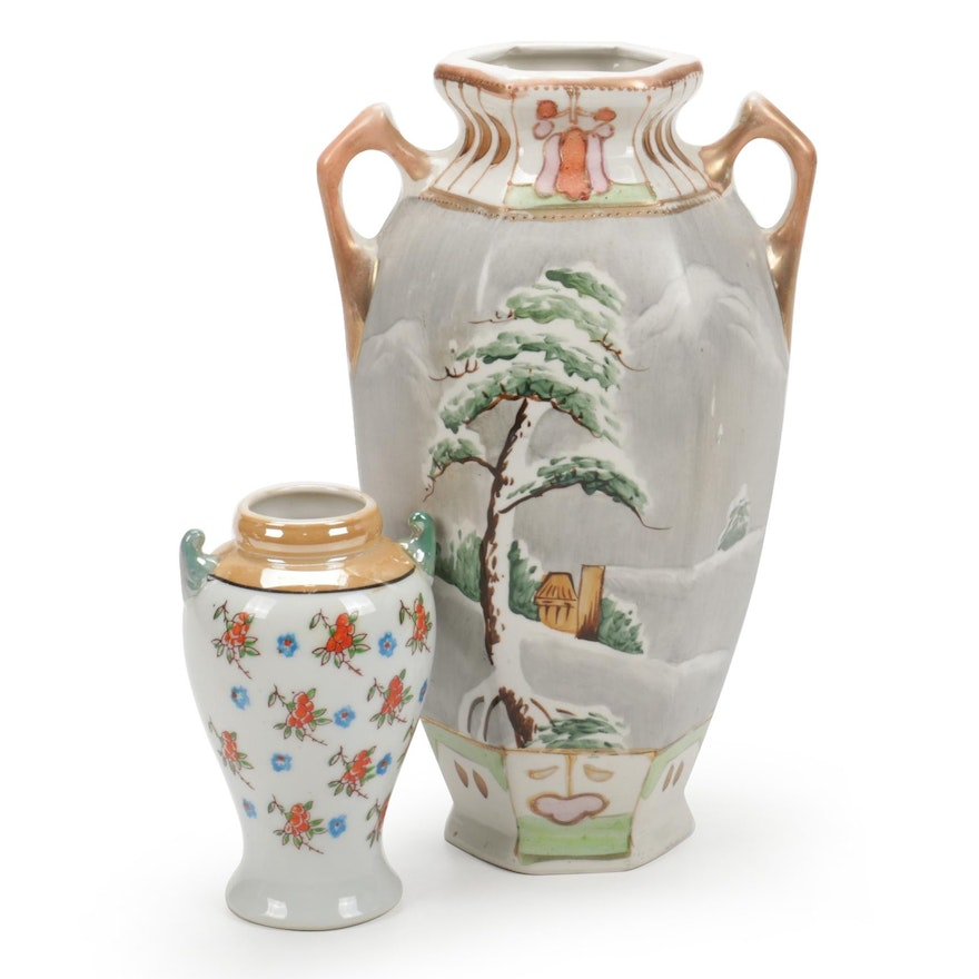 Japanese and Other Hand-Painted Ceramic Vases, Early to Mid 20th Century