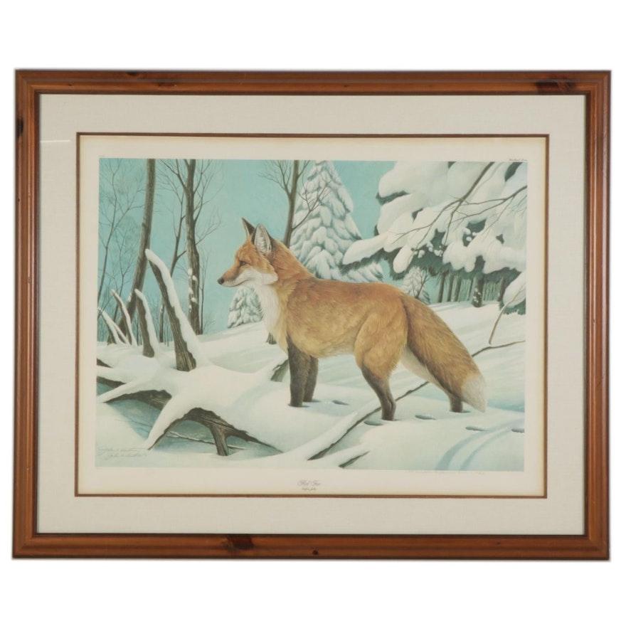 """John A. Ruthven Offset Lithograph """"Red Fox,"""" 1981"""