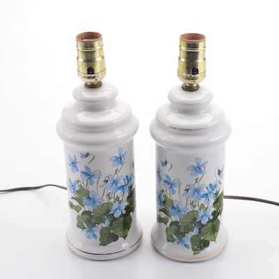 Pair of Ceramic Floral Canister Lamps