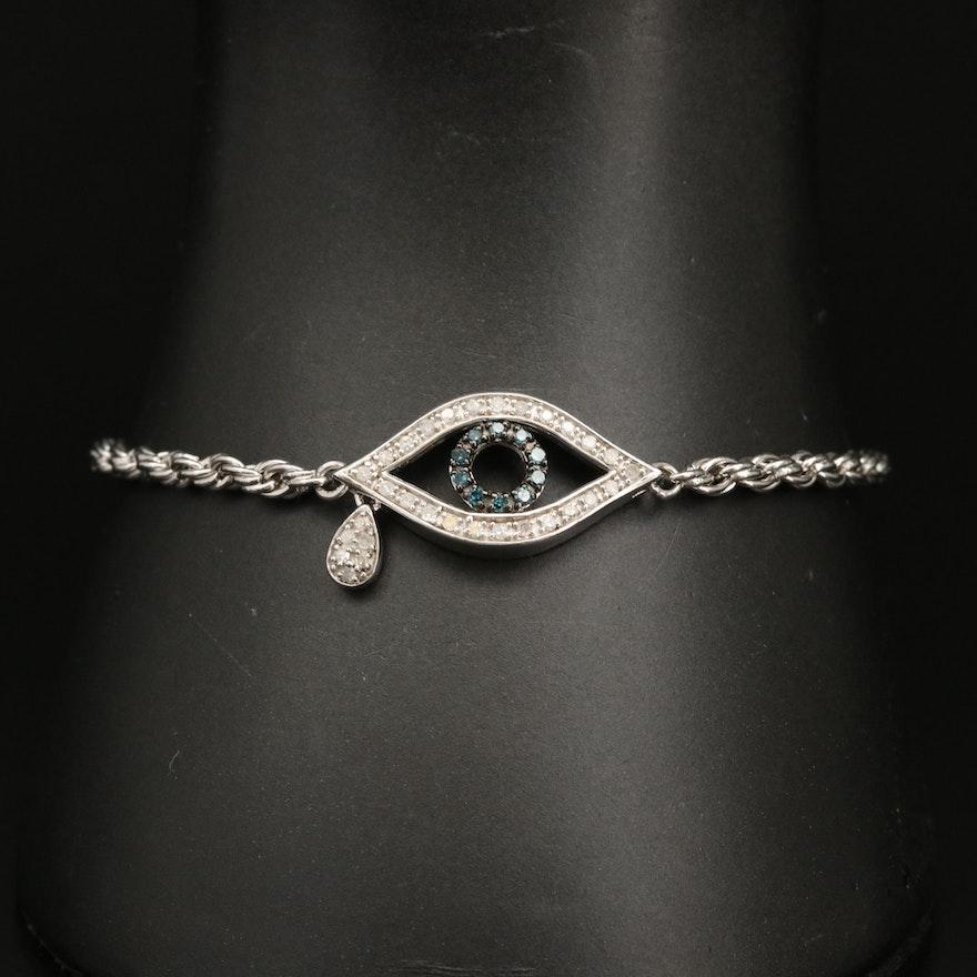 Sterling Silver Diamond Evil Eye Bracelet