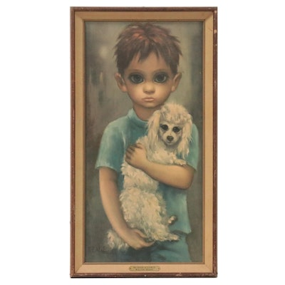 Offset Lithograph After Margaret Keane of Boy with Dog