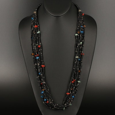Multi-Strand Beaded Necklace with Colored Accent Beads